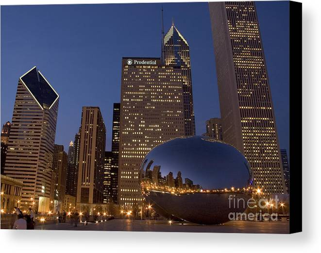 Cloud Gate Canvas Print featuring the photograph Cloud Gate At Night by Timothy Johnson