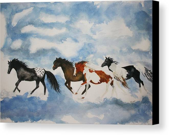 Horses Canvas Print featuring the painting Cloud Runners by Michele Turney