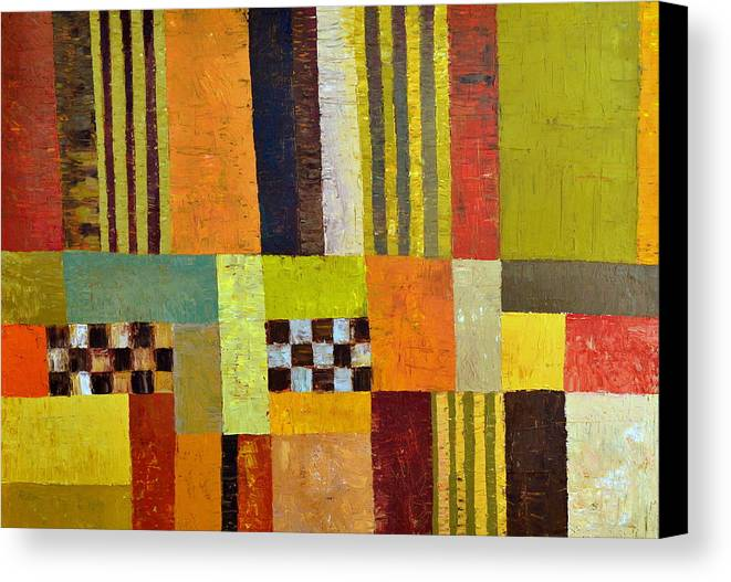 Colorful Canvas Print featuring the painting Color And Pattern Abstract by Michelle Calkins
