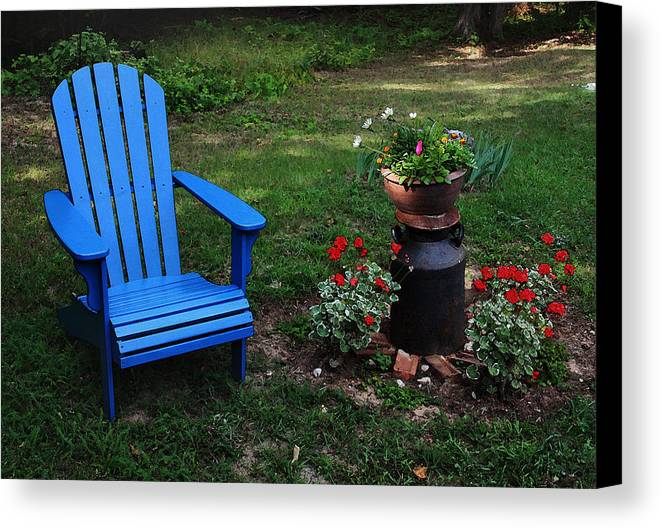 Adirondack Chair Canvas Print featuring the photograph Come Sit by Joanne Coyle