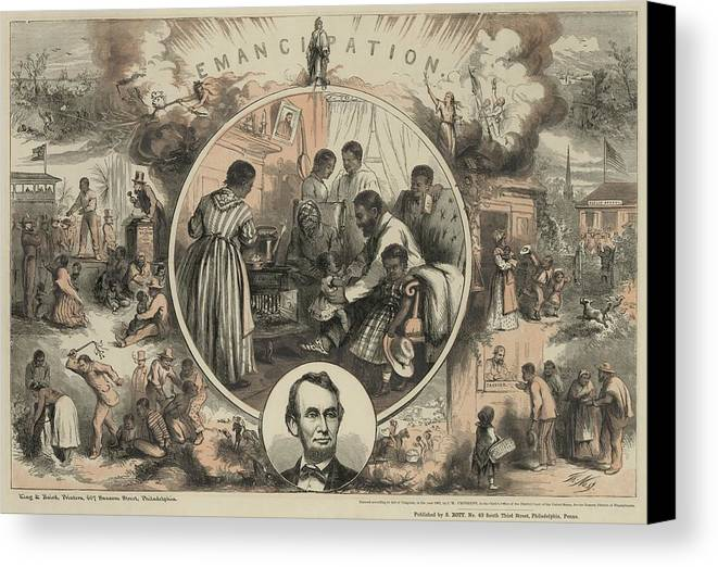 History Canvas Print featuring the photograph Commemoration Of The Emancipation by Everett