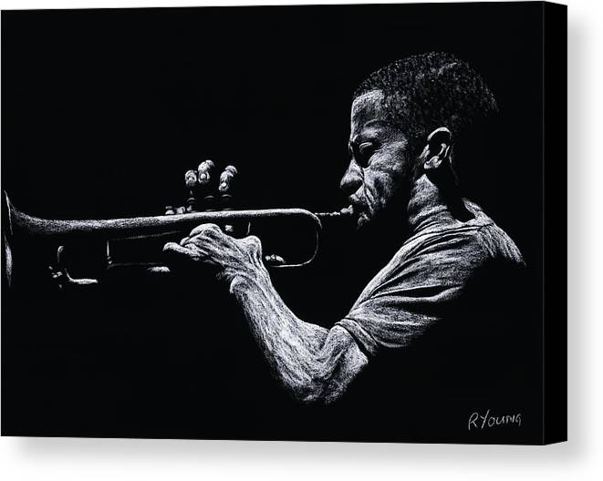 Musician Canvas Print featuring the pastel Contemporary Jazz Trumpeter by Richard Young