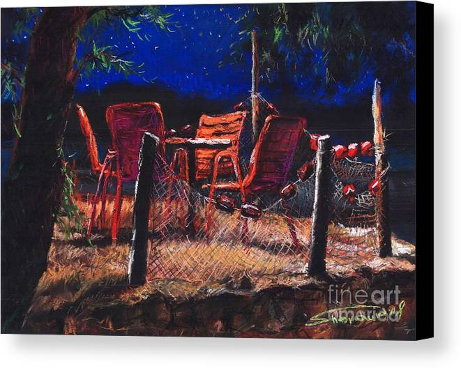 Pastel Canvas Print featuring the painting Croatia Fisherman Restaurant by Yuriy Shevchuk