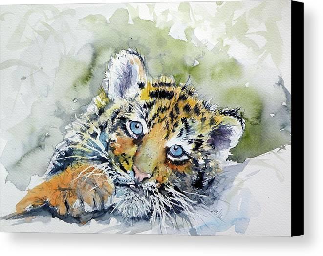 Cute tiger cub canvas print canvas art by kovacs anna brigitta cute canvas print featuring the painting cute tiger cub by kovacs anna brigitta thecheapjerseys Image collections