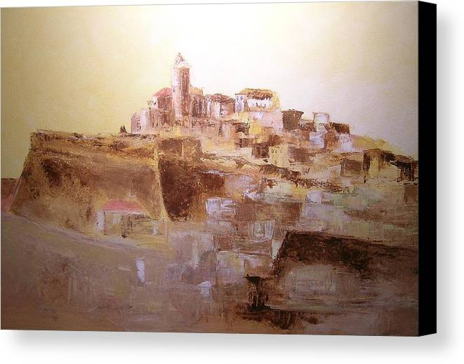 Original Cityscpae Canvas Print featuring the painting D Alt Vila Ibiza Old Town by Lizzy Forrester