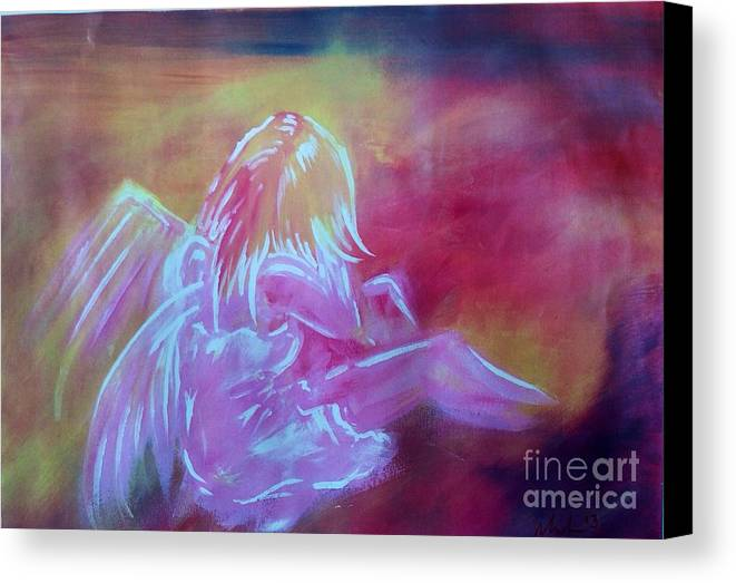 Angel Canvas Print featuring the painting Dad...xxx by Lowkey Luciano