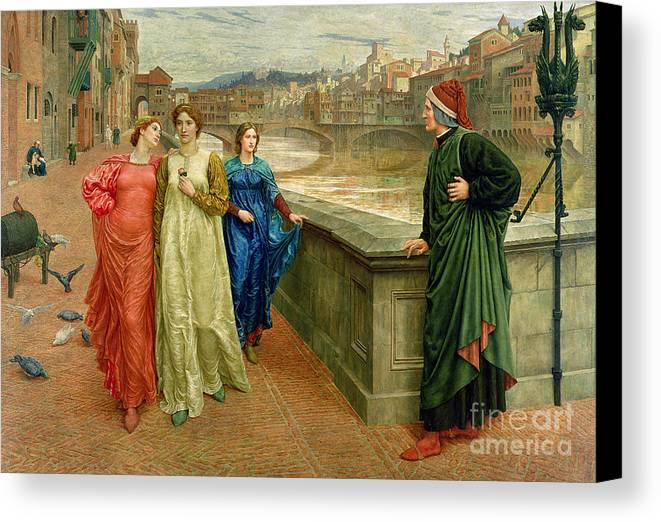 Dante And Beatrice Canvas Print featuring the painting Dante And Beatrice by Henry Holiday