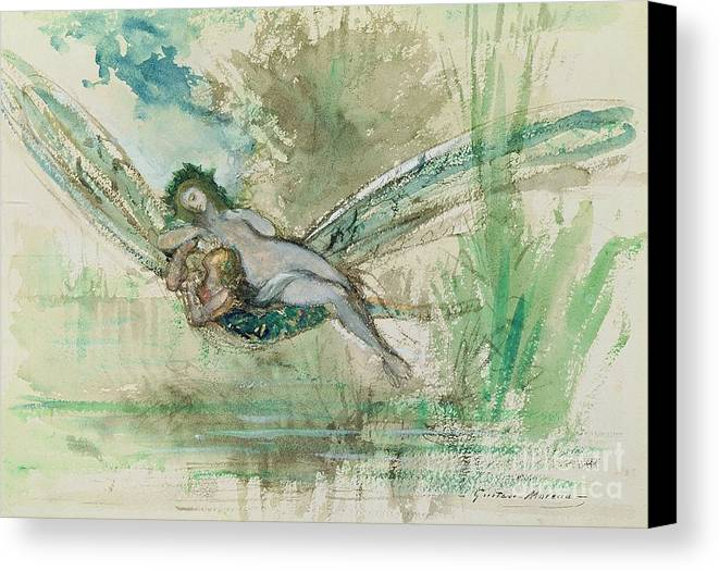 Dragonfly Canvas Print featuring the painting Dragonfly by Gustave Moreau