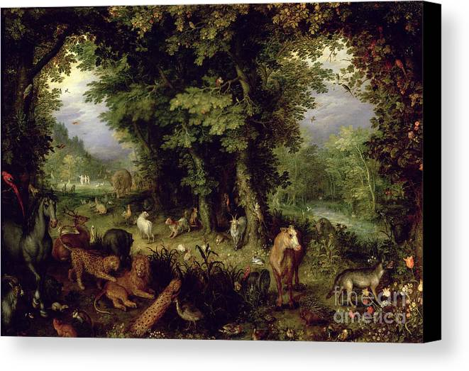 Animal; Animals Canvas Print featuring the painting Earth Or The Earthly Paradise by Jan the Elder Brueghel