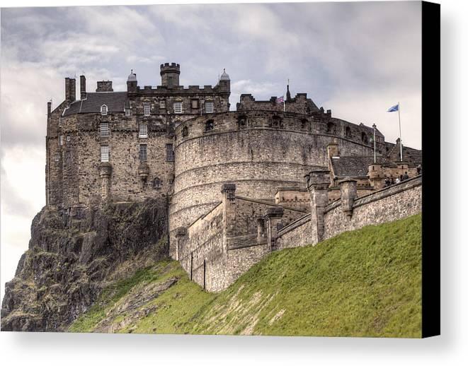 Edinburgh Canvas Print featuring the photograph Edinburgh Castle by Mark Smith