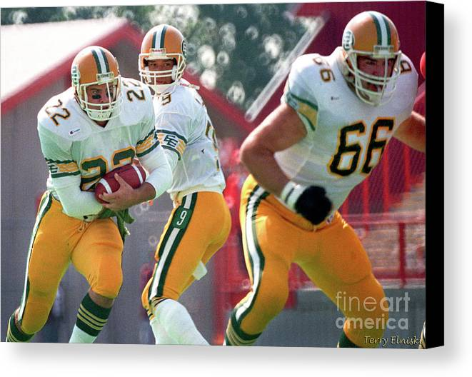 Terry Elniski Photography Canvas Print featuring the photograph Edmonton Eskimos Football - Blake Marshall - 1988 by Terry Elniski