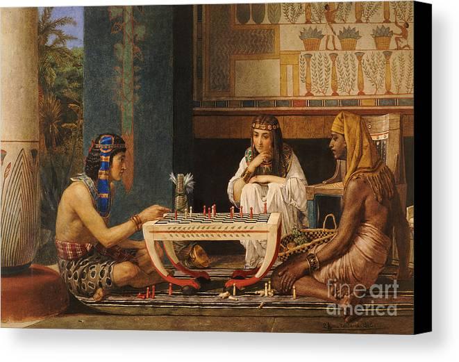 Egyptian Chess Players Canvas Print featuring the painting Egyptian Chess Players by Sir Lawrence Alma-Tadema