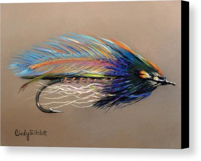 Fishing Canvas Print featuring the painting Evening Breeze by Cindy Gillett