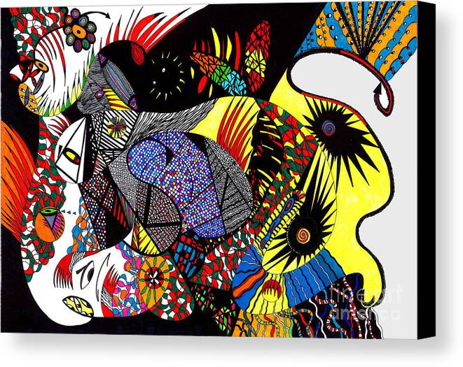 Psychedelic Canvas Print featuring the painting Evil Born by Safak Tulga