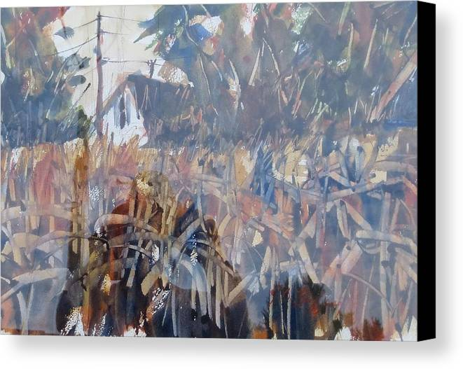 Landscape Canvas Print featuring the painting Fall Corn II by JULES Buffington