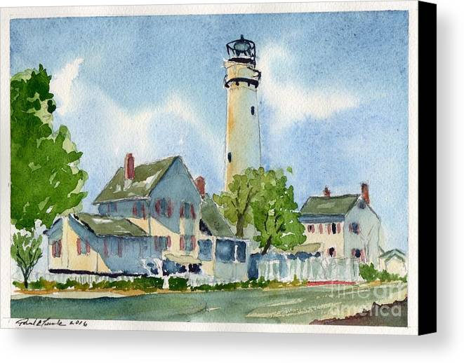 Lighthouse Canvas Print featuring the painting Fenwick Island Lighthouse by Paul Temple