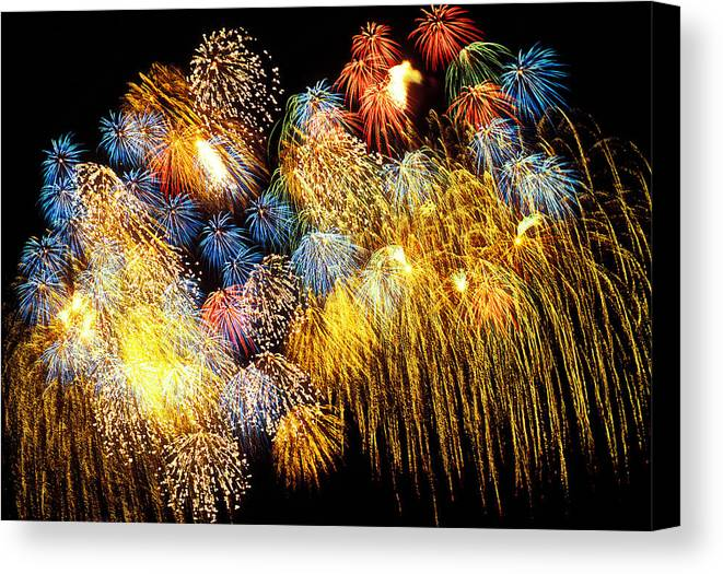 4th Of July Canvas Print featuring the photograph Fireworks Exploding by Garry Gay