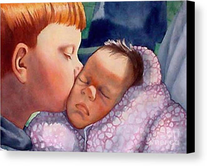 Portrait Canvas Print featuring the painting First Kiss by Gail Zavala