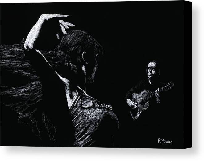 Guitar Canvas Print featuring the pastel Flamenco Recital by Richard Young