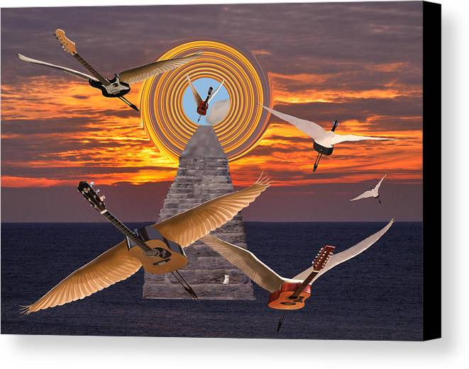 Flight Of The Guitars Canvas Print featuring the mixed media Flight Of The Guitars by Eric Kempson