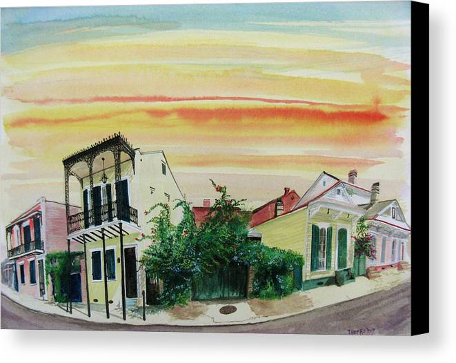 Street Scene Canvas Print featuring the painting Flowered Gate by Tom Hefko