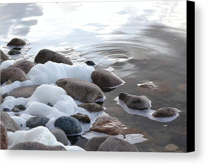 Foam Canvas Print featuring the photograph Foamy Rocks by Nicole Frederick