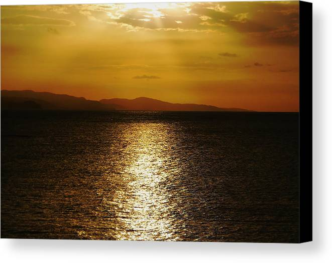 Jamaica Canvas Print featuring the photograph Follow The Gold by Debbie Oppermann