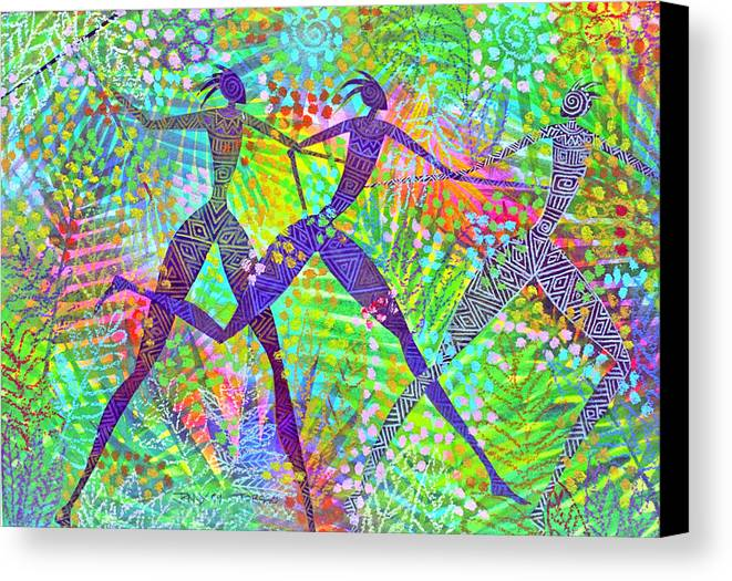 Jungle Tropical Rain Forest Figures Colourful Magical Canvas Print featuring the painting Freedom In The Rain Forest by Jennifer Baird