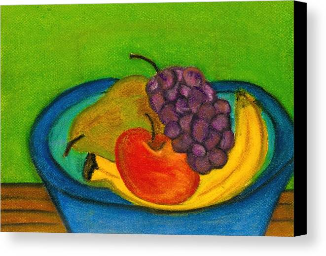 Still Life Canvas Print featuring the drawing Fruit In Bowl by Katina Cote