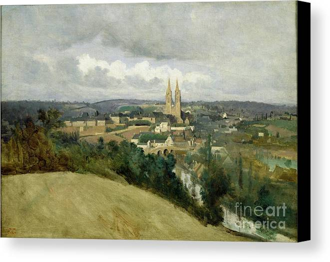 General Canvas Print featuring the painting General View Of The Town Of Saint Lo by Jean Corot