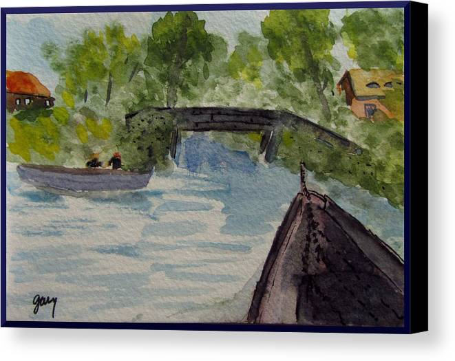 Giethoorn Canvas Print featuring the painting Giethoorn Boat Approaches Bridge by Gary Kirkpatrick