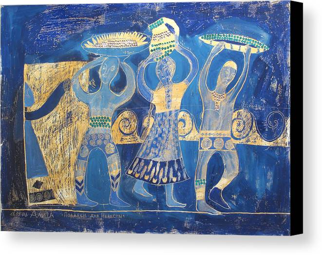 People Canvas Print featuring the painting Gifts For The Bride 1 by Aliza Souleyeva-Alexander