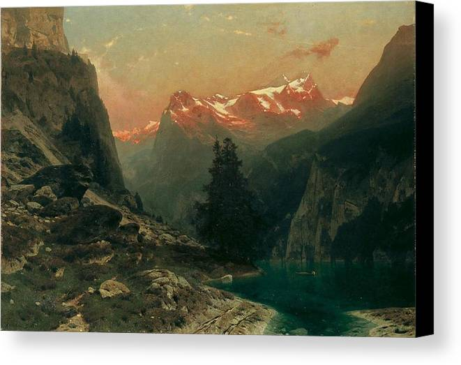 Glowing Alps By Stanislaus Von Kalckreuth Canvas Print featuring the painting Glowing Alps by Stanislaus