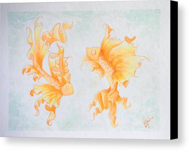 Fish Canvas Print featuring the painting Goldfish by Jaime Violano