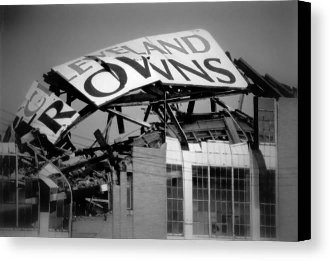 Cleveland Canvas Print featuring the photograph Goodbye Cleveland Stadium by Kenneth Krolikowski