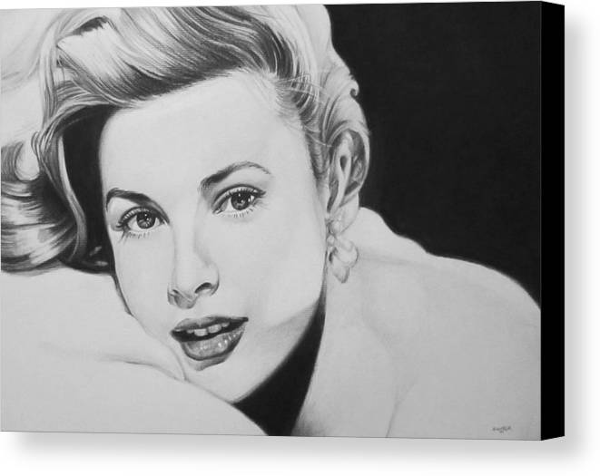 Grace Kelly Kelley Rear Window Actress Hollywood Cary Grant Charcoal Portrait Black And White Pencil Female Woman Canvas Print featuring the drawing 'grace' by Steve Hunter