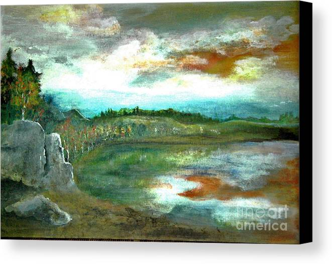 Landscape Canvas Print featuring the painting Gravel Pit Overgrown by Vivian Mosley