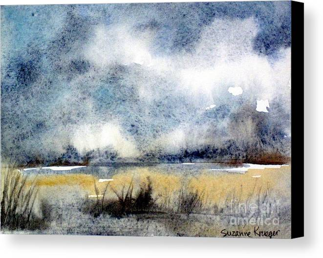 Landscape Canvas Print featuring the painting Gray Day by Suzanne Krueger