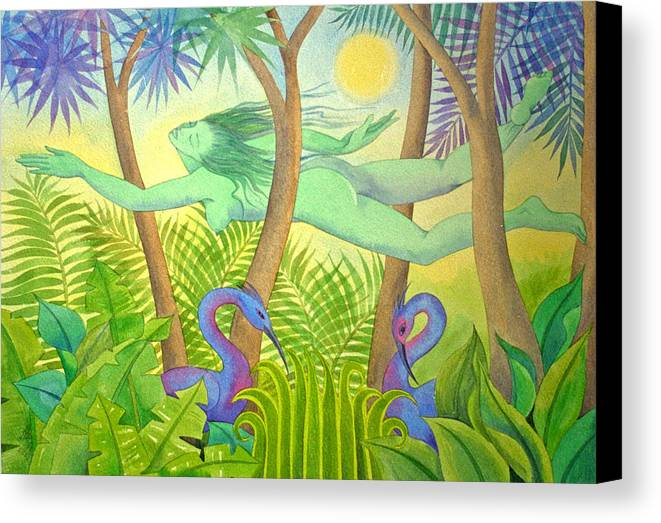 Jungle Flying Dream Exotic Birds Tropical Forest Sensuous Canvas Print featuring the painting Green Lady Flying by Jennifer Baird