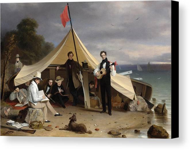Robert Walter Weir Canvas Print featuring the painting Greenwich Boat Club by Robert Walter Weir