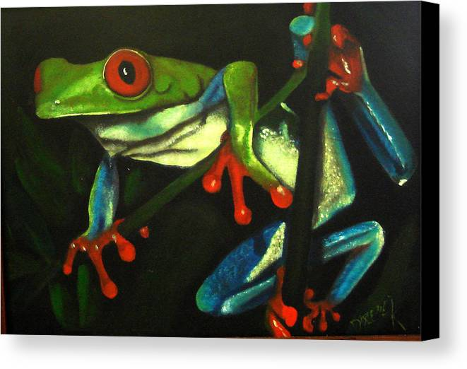 Red Eyed Tree Frog Canvas Print featuring the painting Hangin Out by Darlene Green