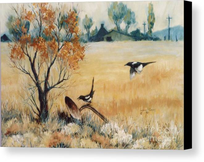 Bird Canvas Print featuring the painting Happy Cry Of The Wild Magpie by JoAnne Corpany