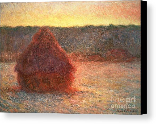 Haystacks At Sunset Canvas Print featuring the painting Haystacks At Sunset by Claude Monet