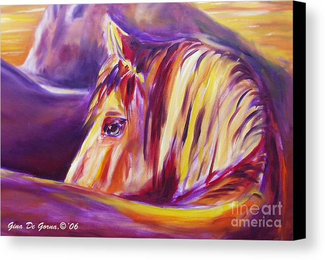 Horses Canvas Print featuring the painting Horse World Detail by Gina De Gorna
