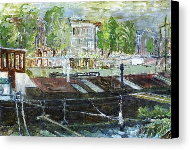 Amsterdam House Boat Canal Trees Houses Sky Water Thunderstorm Canvas Print featuring the painting House Boat In Amsterdam by Joan De Bot