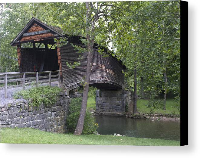Humpback Canvas Print featuring the photograph Humpback Covered Bridge In Covington Virginia by Brendan Reals
