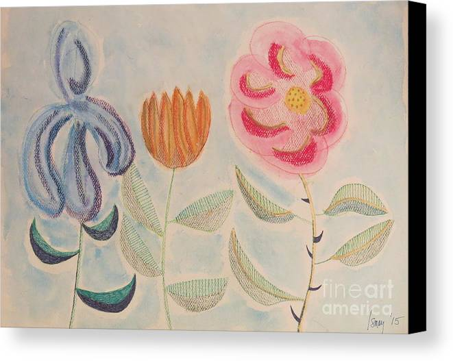 Flowers Canvas Print featuring the painting Imagined Flowers Two by Rod Ismay