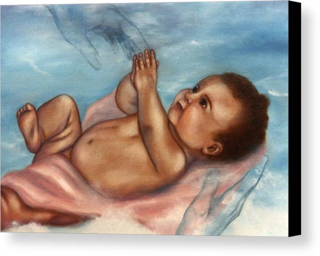 Portrait Canvas Print featuring the painting In Gods Hands by Joni McPherson