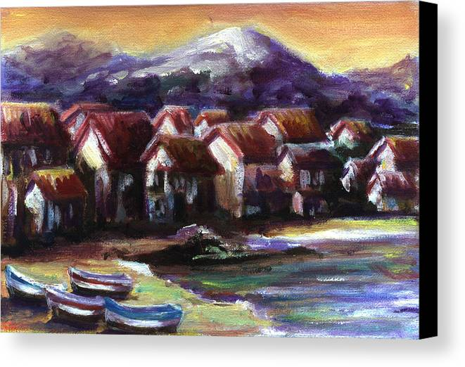 Oil Canvas Print featuring the painting Italian Coast by Patricia Halstead