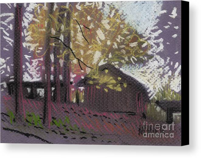Pastel Canvas Print featuring the drawing James's Barns 9 by Donald Maier
